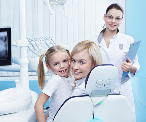 Dentist with patients